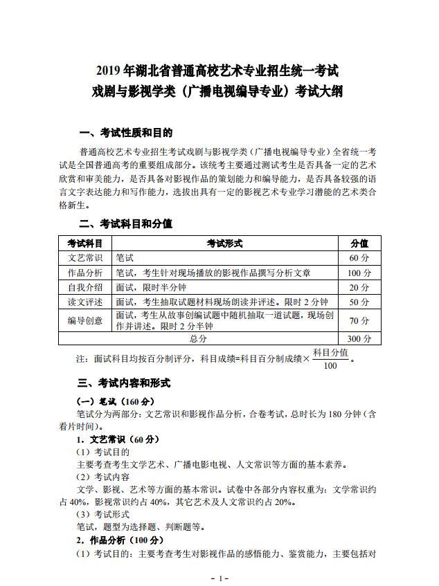 2019 年湖北省艺术专业招生统一考试戏剧与影视学类(广播电视编导专业)考试大纲1.jpg